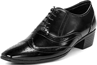BXXY Black Height Increasing British Full Brogue Shoes for Men
