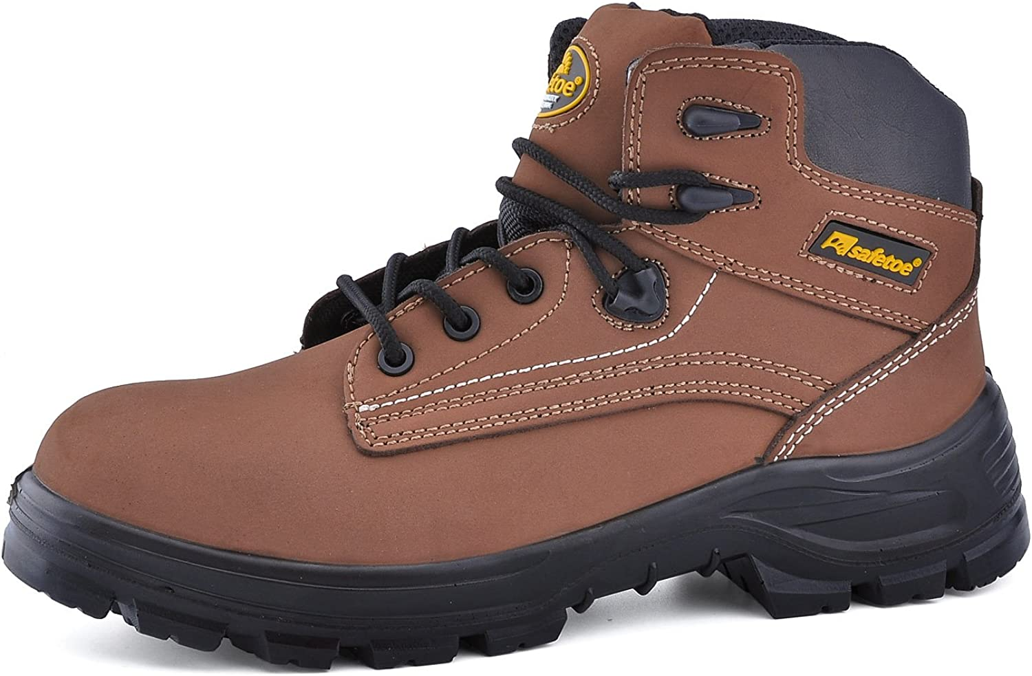 SAFETOE Mens Steel Toe Work Boots - M8356 Waterproof Leather Safety Boots Slip on Safety shoes for Women
