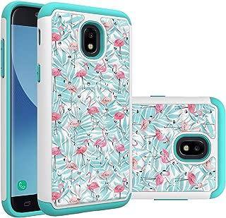 Galaxy J3 2018 Case, for Samsung Galaxy J3 Orbit/J3 Achieve/J3 Express Prime/ 2/J3 Eclipse 2/J3 Emerge 2018 Case, Flamingo Mint Heavy Duty Shockproof Studded Crystal Bling Hybrid Case Silicone Armor