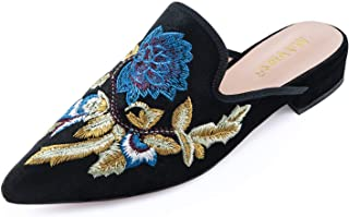 Mules for Women, Women Embroidery Velvet Mule Slippers, Woman Slip on Backless Loafers