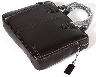 Crossbody Bag Leather Shoulder Bag 8L Men's Square Business Tote Large-Capacity Briefcase Black Leather Laptop Work Bag