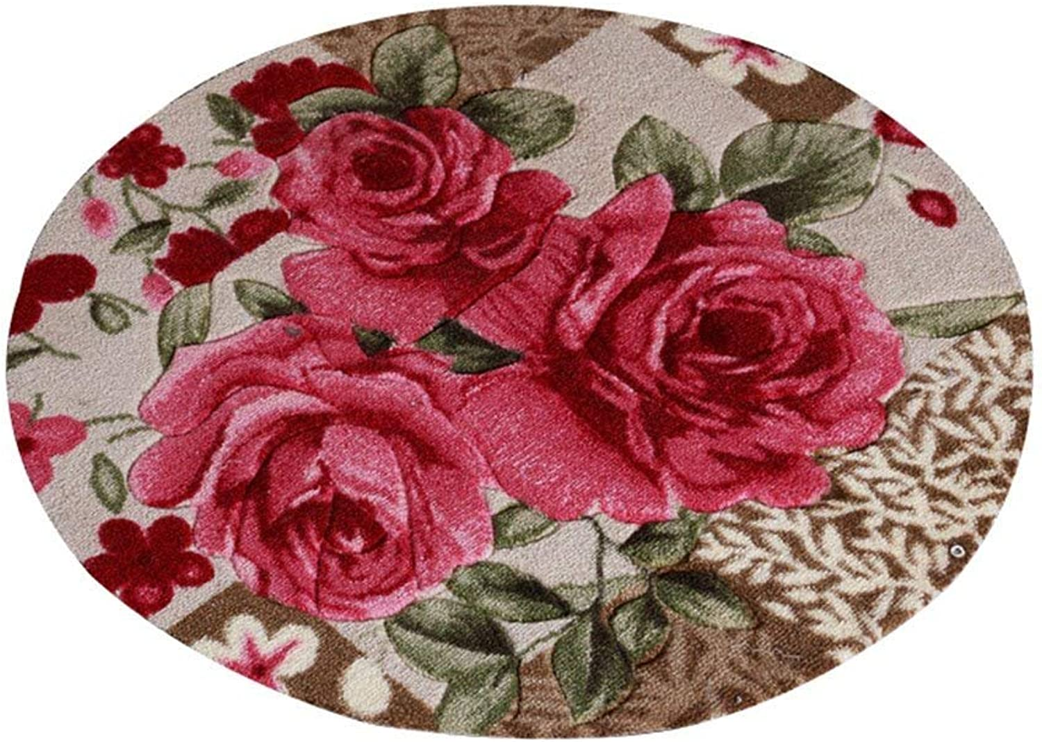Round Carpet, European Village Farmhouse Style Carved Living Room Carpet Bedroom pad Computer Chair Cushion Non-Slip Door mat 80x80cm, Soft and Comfortable (color    3, Size   100  100cm)
