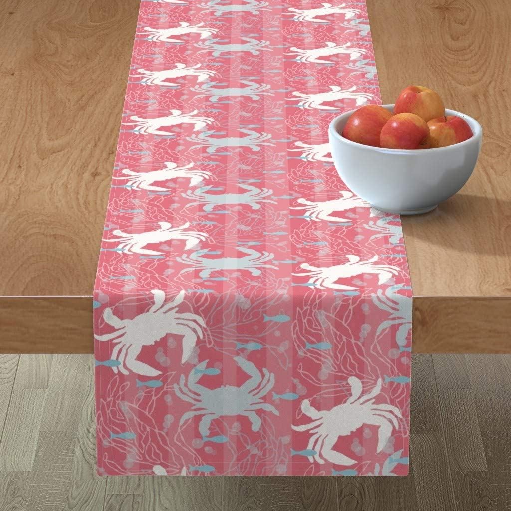 Amazon Com Roostery Tablerunner Nautical Beach Ocean Seafood Shrimp Lobster Fish Print Cotton Sateen Table Runner 16in X 90in Home Kitchen