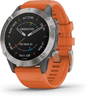 Garmin Fenix 6 Sapphire, Premium Multisport GPS Watch, features Mapping, Music, Grade-Adjusted Pace Guidance and Pulse Ox Sensors, Titanium with Orange Band
