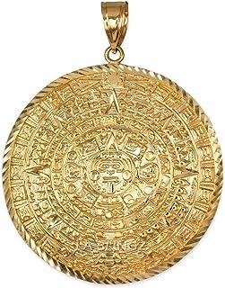 LA BLINGZ 10K Yellow Gold Aztec Mayan Sun Calendar Ex-Extra Large Pendant (XXL)
