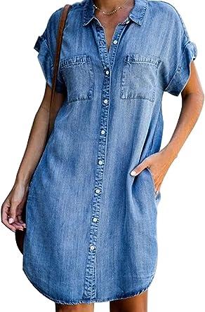 Onsoyours Mujer De Manga Corta Jeans Vestido Casual con Botones Vestidos Camisero de Denim para Mujer Vestidos Corto Vestido Vaquero Cortos de Manga ...