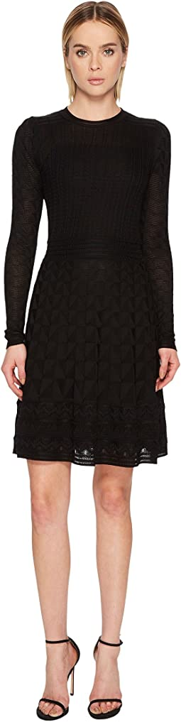 M Missoni Solid Knit Long Sleeve Dress