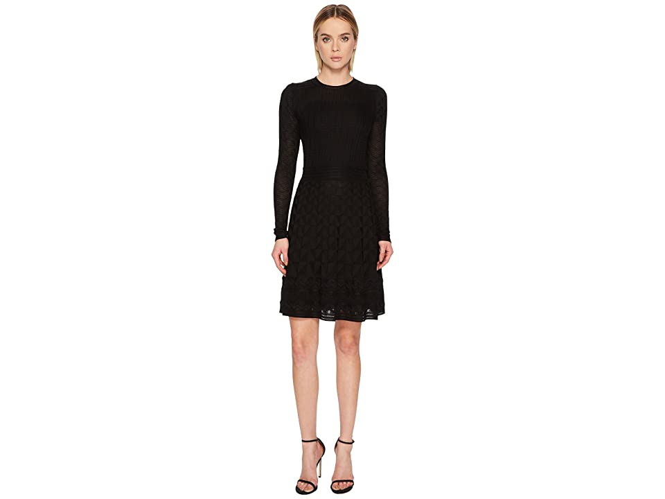 M Missoni Solid Knit Long Sleeve Dress (Black) Women