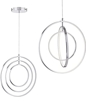 Modern LED Chandeliers for Dining Rooms, Bedrooms, Living Room, Kitchen, Entryway Orb 3 Rings Contemporary Pendant Lighting Ceiling Light Fixtures with Adjustable Cord Farmhouse Rustic Hanging Lamp