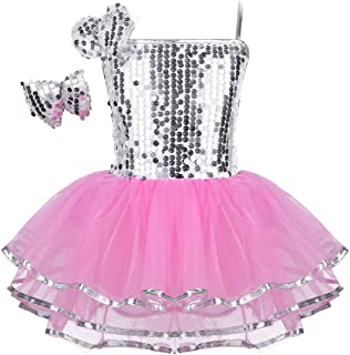 Agoky Kids Girls Sequins Ballet Dance Dress Stage Performance Dancewear Outfit Tutu Skirt Pink Sparkly 6-7
