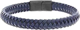 Men's Navy Blue Faux Leather Braided Bracelet with Stainless Steel Closure