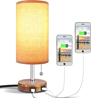 Hong-in USB Table Lamp with Dual USB Port, Solid Wood Desk Lamp, Minimalist Design Nightstand Lamp with Fabric Shade USB Charging Port for Bedroom, Living Room, Coffee Table, Study Room (Round)