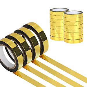 16 Rolls Graphic Art Tape Metallic Mirror Tape Gold Self-Adhesive Decor Tape Mirror-Like Effect for Cabinet Wall Wardrobe Bathroom Decoration Gift Wrapping, 350 Yards