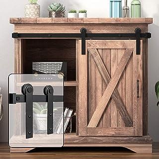 WINSOON 3FT Super Mini Sliding Barn Door Cabinet Hardware Kit for Single Door TV Stands Small Wardrobe Cabinets, I Shape H...