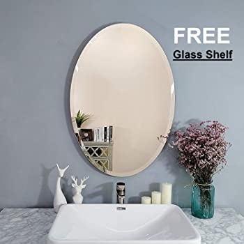 Creative Arts n Frames Exquisite Oval Frame Less Beveled Mirror for Dressing, Bedroom,Bathroom, Living Room (12x18), 1 Mirror