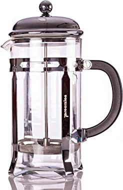 French Press Coffee Maker - 20 oz (600 ml) Espresso and Tea Maker with Triple Filters, Stainless Steel Plunger and Heat Resis