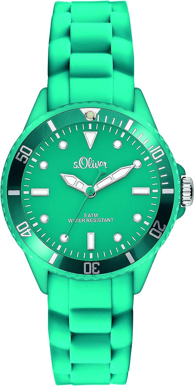 s.Oliver - Reloj de Pulsera analógico Unisex de Cuarzo con Correa de Silicona