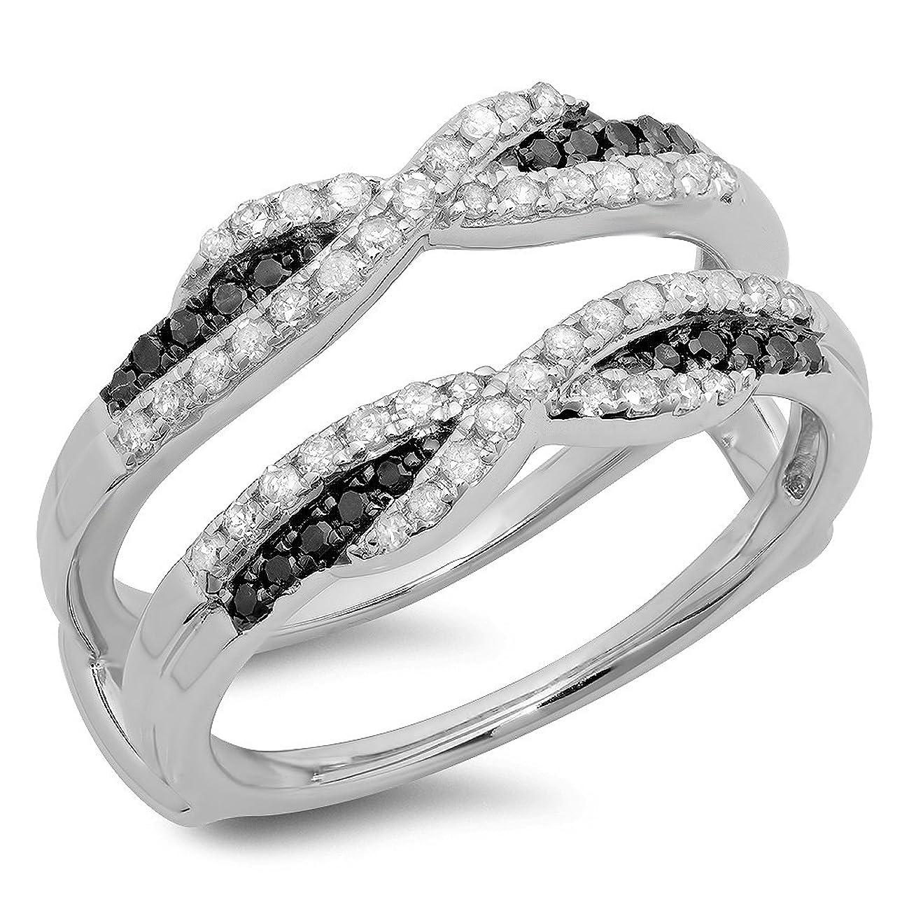 Dazzlingrock Collection 0.50 Carat (ctw) 14K Gold Black & White Diamond Ladies Swirl Wedding Enhancer Guard Double Band 1/2 CT