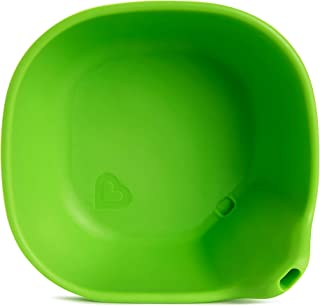 Munchkin Last Drop Silicone Toddler Bowl with Built-In Straw, Green