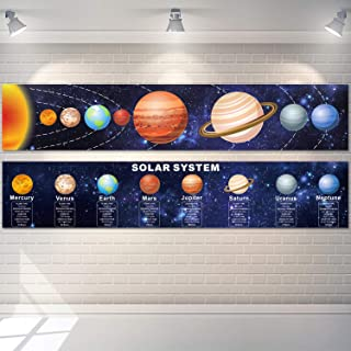 Solar System Poster Science Banner Educational Teaching Wall Decor Elementary and Middle School Classroom Decorations with...