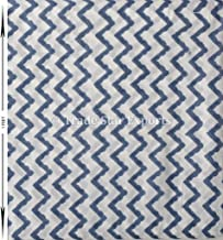 Trade Star Indigo Hand Block Print Indian Upholestry Fabric by Meter For Dress Making