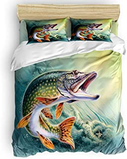 COVASA Luxury 4-Piece Bedding Set Fishing Duvet Covers Set Duvet Cover Bed Sheet Pillow Cases Bass Fish with Hook Out of Ocean Twin Pattern