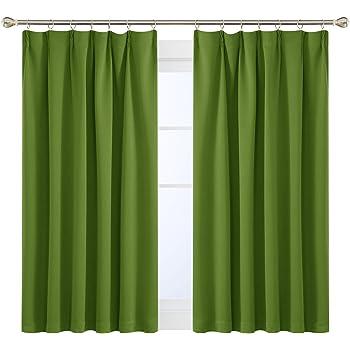 Deconovo 1級遮光 カーテン 全16色 UVカット 断熱 昼夜目隠し 2枚組 幅100cm丈135cm グリーン