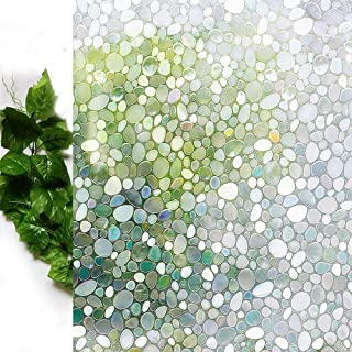 Bloss Glass Window Film No Glue Privacy Window Cling 3D Pebble Decal Glass Stickers for Doors, Cabinet, Bathroom 17.7'' by 78.7''