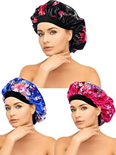Tatuo 3 Pieces Satin Sleeping Cap Wide Band Caps Salon Bonnet Night Sleep Hat for Women, 3 Styles