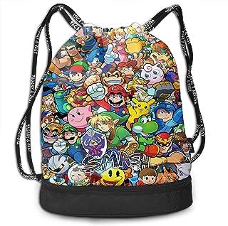 Sonic Pikachu Super Mario Smash Bros Kirby Bundle Mochila con cordón para Gimnasio Sports String Bag School Yoga Kids Mochilas de Viaje para Hombres y Mujeres
