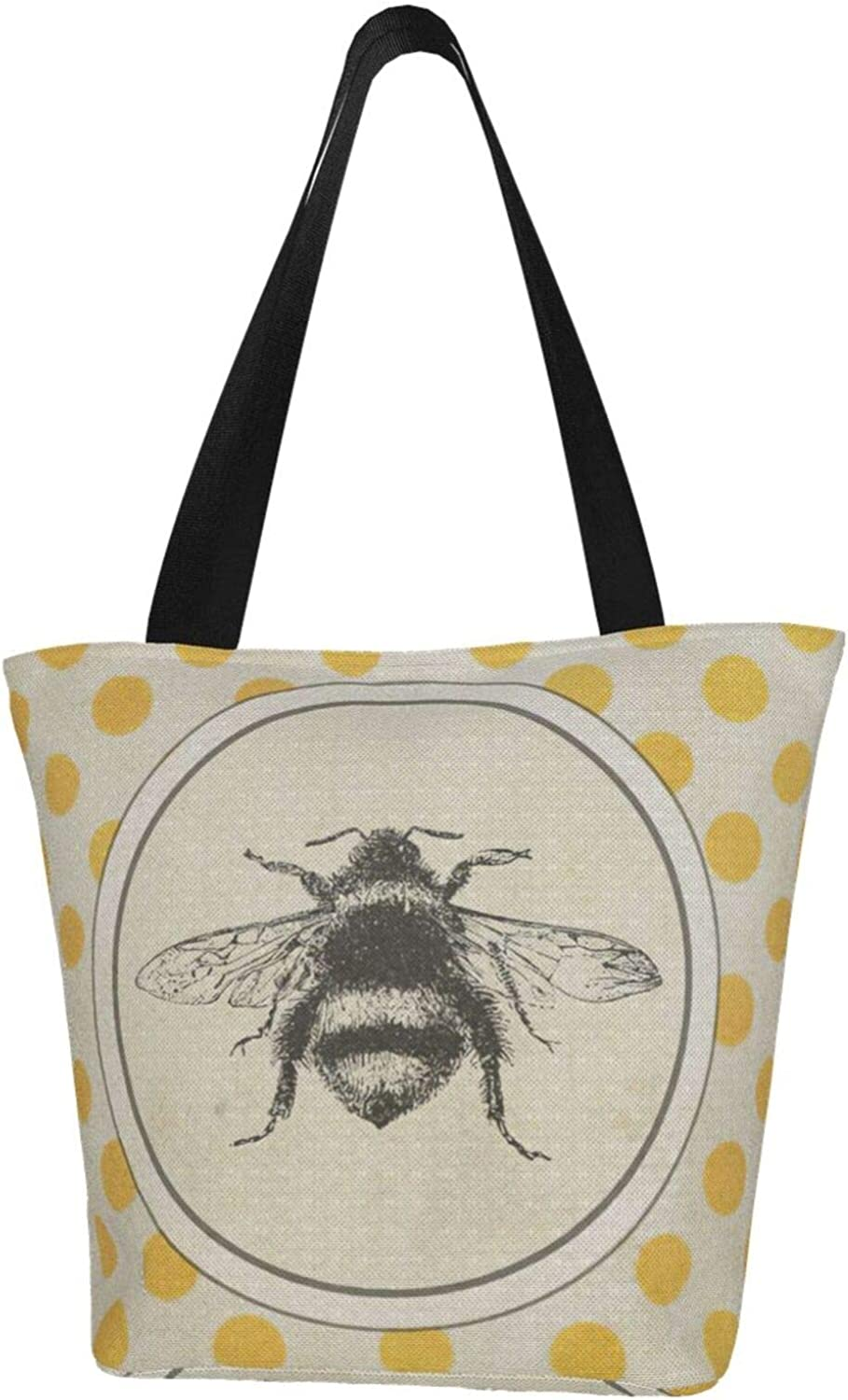 Yellow Spot Bee Insect Vintage Themed Printed Women Canvas Handbag Zipper Shoulder Bag Work Booksbag Tote Purse Leisure Hobo Bag For Shopping