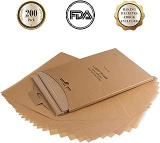Parchment Paper Baking Sheets Unbleached, KeShi 200 Pcs Non-Stick Precut Baking Parchment, Not Curl or Burn and Non-Toxic, Half Sheet Baking Paper 12x16