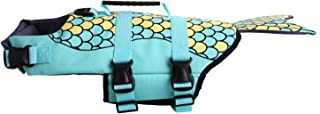 Pup Life Jacket,Dog Swimming Life Coat Vest for Lab Bulldogs Corgi Golden with Adjustable Straps and Portable Handle,Fish Style Pet Afloat Lifesaver Preserver for Lake Pool Ocean Water Beach in Safety
