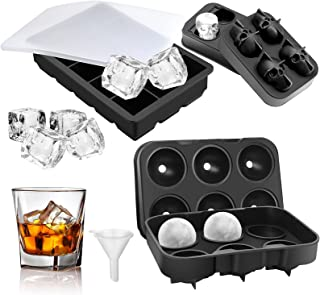 Ice Cube Trays,Ice Trays for Freezer with Lid(Set of 3) ,Large Square Ice Cube Skull Ice Molds Sphere Ice Ball,Reusable Si...