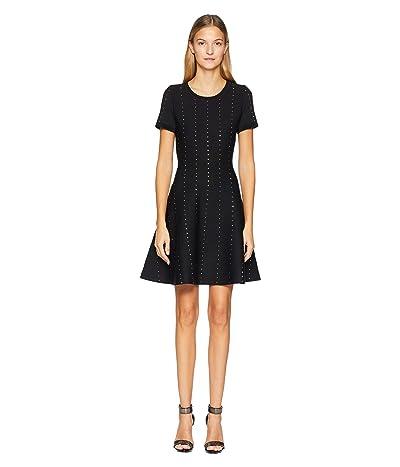 The Kooples Short Knit Dress with Vertical Studs (Black) Women