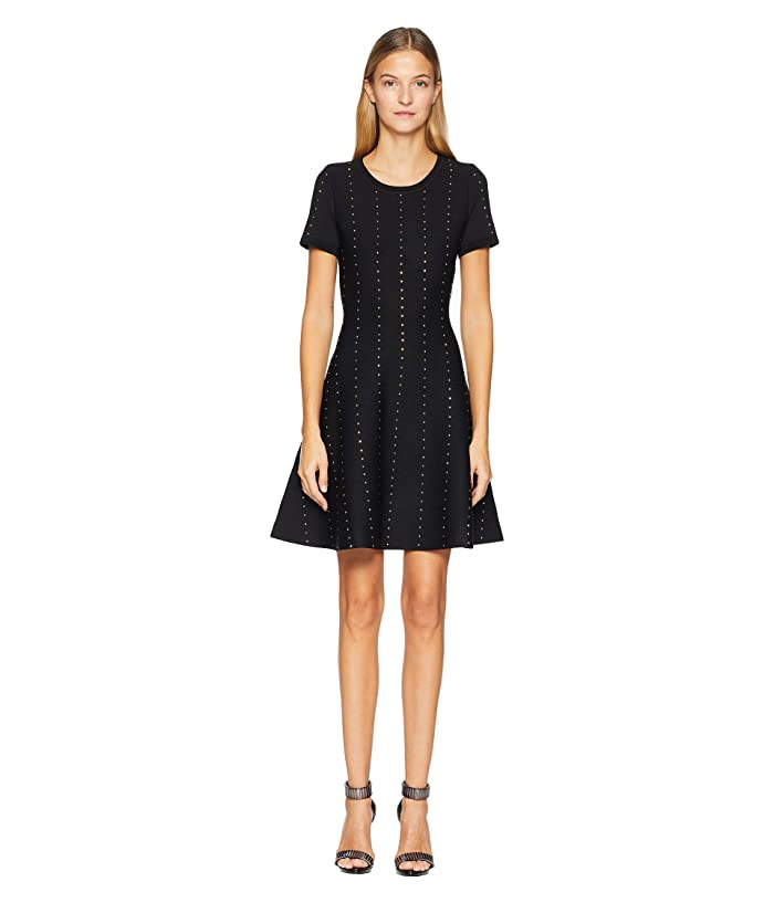 Short Knit Dress With Vertical Studs by The Kooples