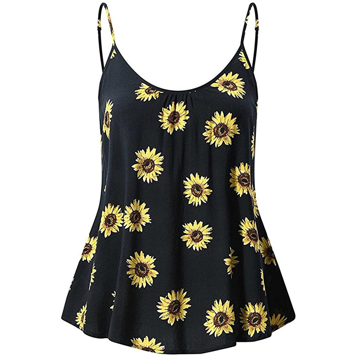 Aniywn Women Sunflower Print Sleeveless Vest Shirt Ladies Hem Flare Spaghetti Strappy Tank Tops
