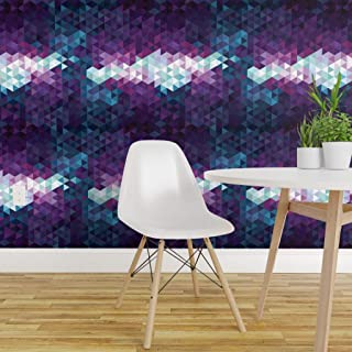 Spoonflower Peel and Stick Removable Wallpaper, Purple Geometric Teal Abstract Gradient Ombre Triangles Print, Self-Adhesive Wallpaper 24in x 108in Roll