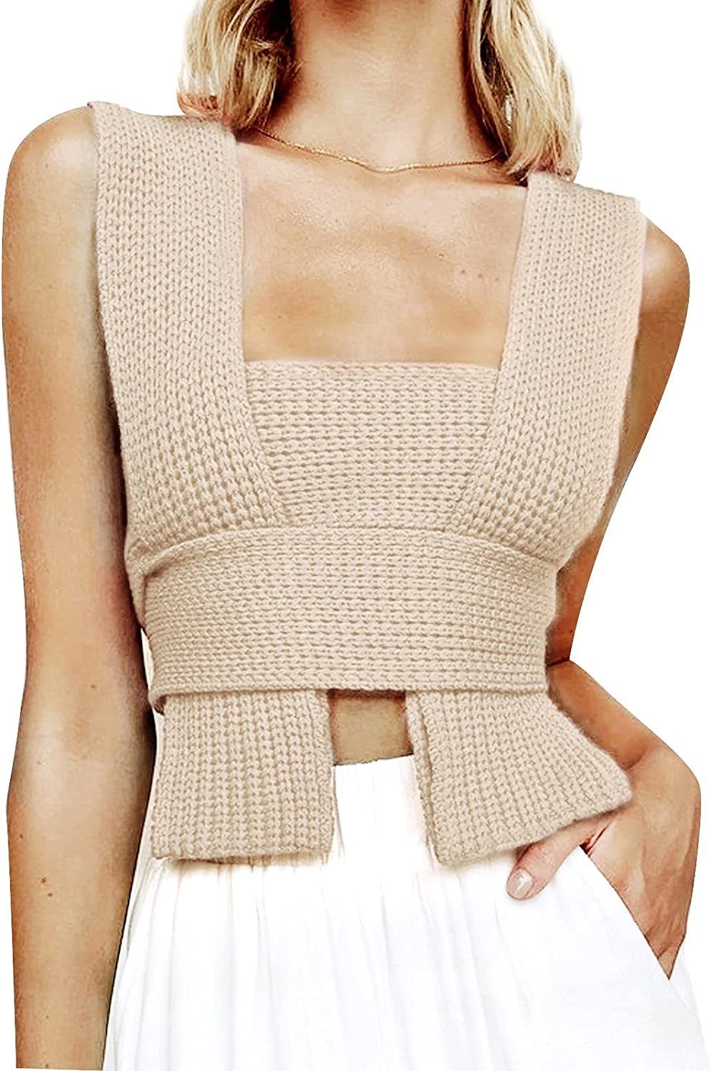 Womens Knit Bandage Tank Tops Sexy Y2K Irregular Sweater Vest Solid Color DIY Criss Cross Knitwear Blouse
