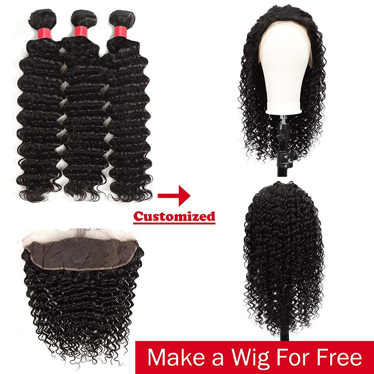 DéBUT custom-made human hair Lace front wigs by Deep Wave Brazilian hair Bundles with 13 x 6 Lace frontal Closure with baby hair 10A Grade Virgin Remy Hair Natural Black