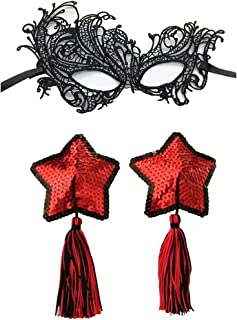 Amiciyah Sequins Glitter Star Nipple Pasties & Lace Mask Reusable Rave Pasties Party Bar(Black Red)