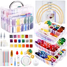 HAUSPROFI Embroidery Starter Kit with Instructions 7 Pieces Bamboo Embroidery Hoops 50 Colour Embroidery Threads and 12 Needles Embroidery Kit Cross Stitch Kit Cross Stitch Tool for Beginners Sewing