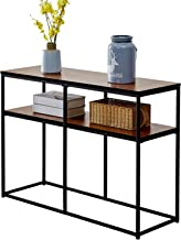 VECELO 2 Tier Console Multipurpose Sofa Side Bookshelf Rectangular Entryway/Living Room Tables with Storage Shelf, Brown