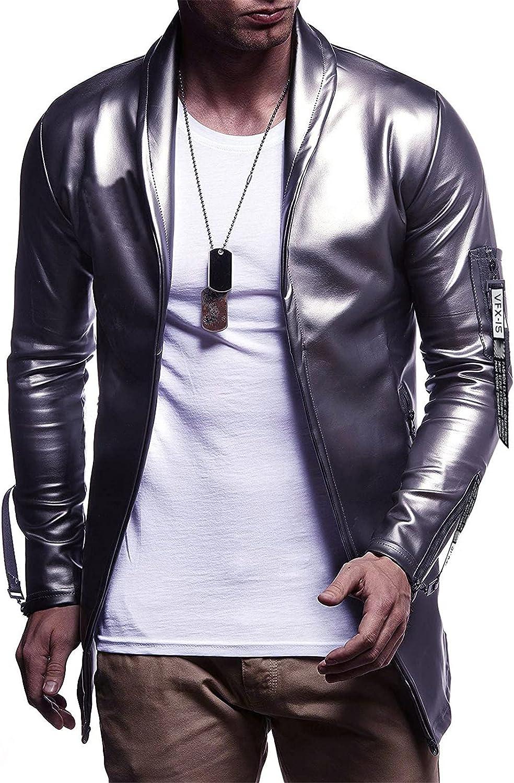 Men's Classic Leather Blazer,Casual Bright Color Clothes Coat Jacket,for Leisure Club Performances