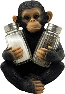 Ebros Decorative Monkey Glass Salt and Pepper Shaker Set with Holder Figurine for Tropical & African Jungle Safari Kitchen Table Decor Sculptures or Whimsical Chimp Statues As Animal Themed Gifts