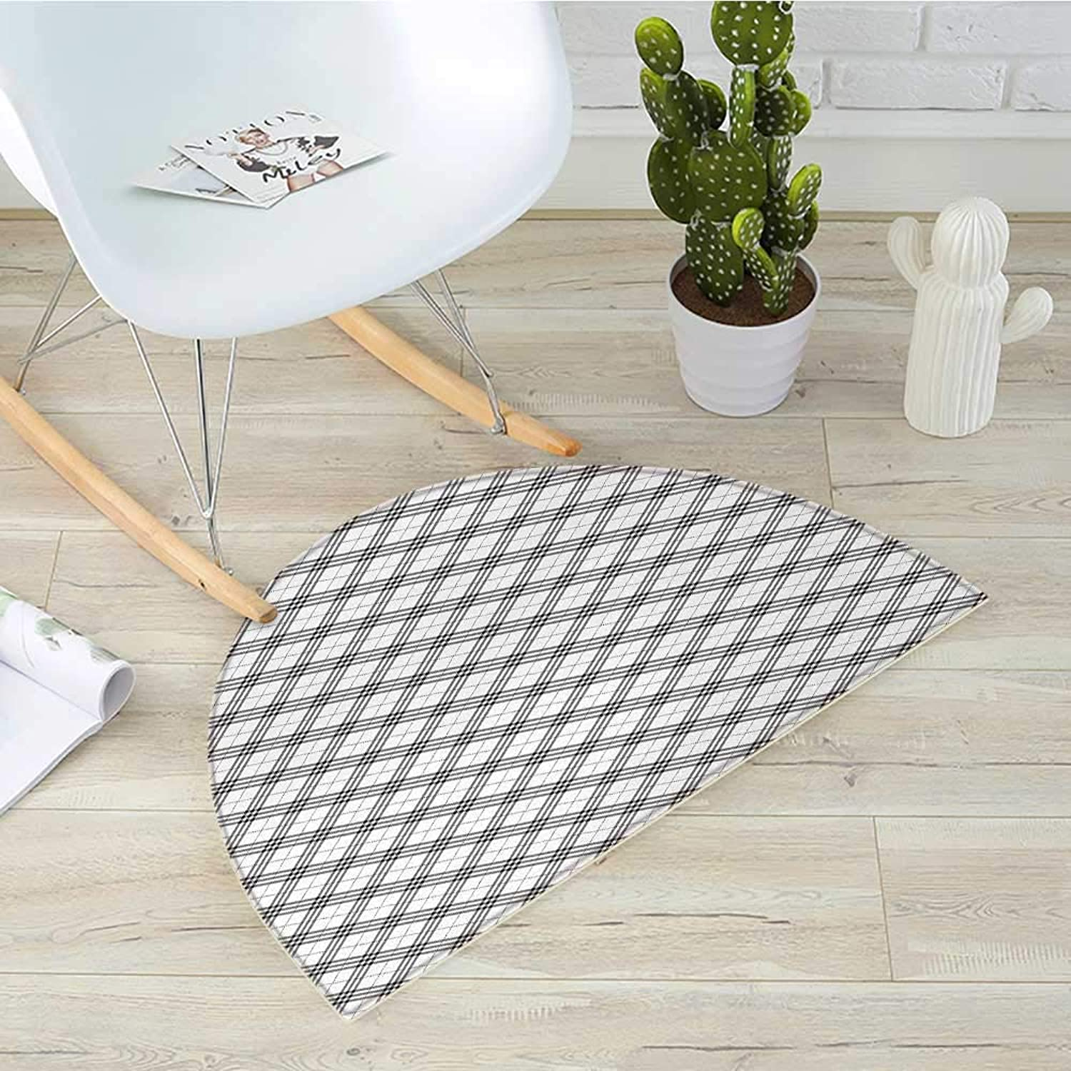 Plaid Semicircle Doormat Monochromatic Diagonal Pattern with Checks and Stripes Dashed Lines Celtic Classic Halfmoon doormats H 31.5  xD 47.2  Black White