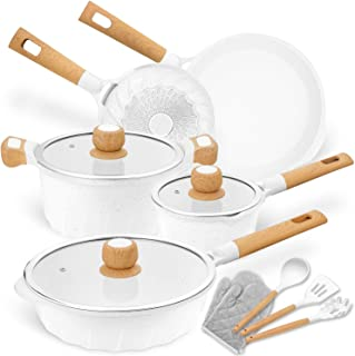 Cookware Set Nonstick 100% PFOA Free Induction Pots and Pans Set with Cooking Utensil 13 Piece – White