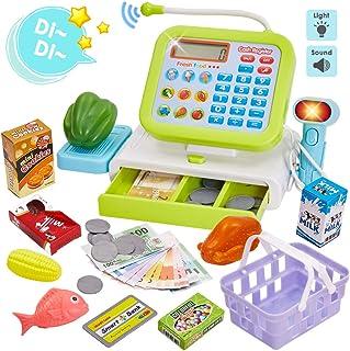 HERSITY Caja Registradora Juguetes Alimentos Supermercado de Juguetes con Sonido para Infantil Niños (Verde)
