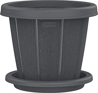 "Cosmoplast Plastic Cedargrain Round Flowerpot 12"" with Tray"