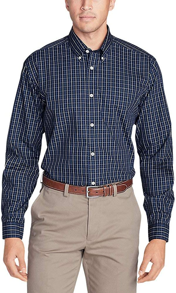 Eddie Bauer Men's Wrinkle-Free Classic Fit Pinpoint Oxford Shirt - Blues Dk Marina Large